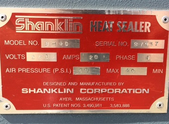 "Shanklin "" L"" Bar Sealer Model S-4C With T-7XL Heat Tunnel"